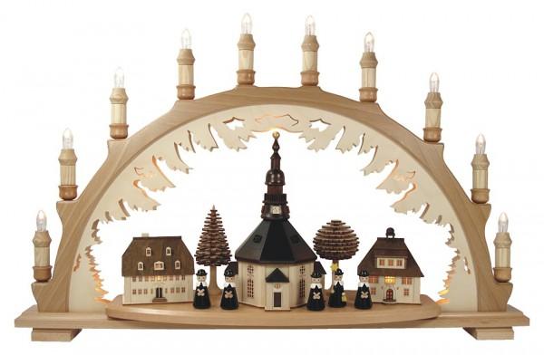 Lenk & Sohn Schwibbogen Erzgebirge 2-fach, 10-flammig Seiffener Kirche mit Kurrende