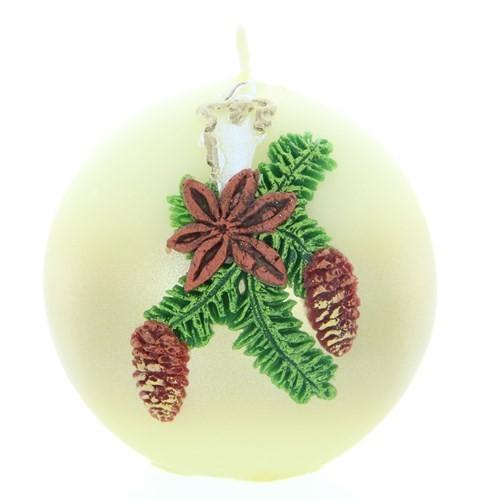Weihnachtskerze Weiß - Kugel mit Kerze - 7cm