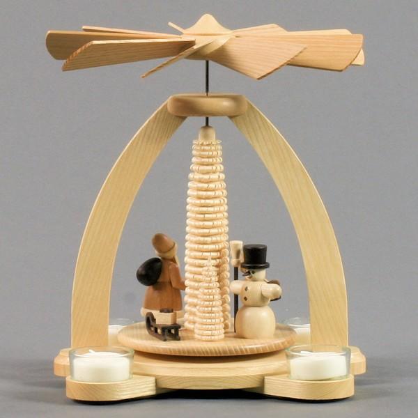 Dregeno Erzgebirge - Pyramide klein mit Schneemann und Weihnachtsmann, für Teelichter - 26cm