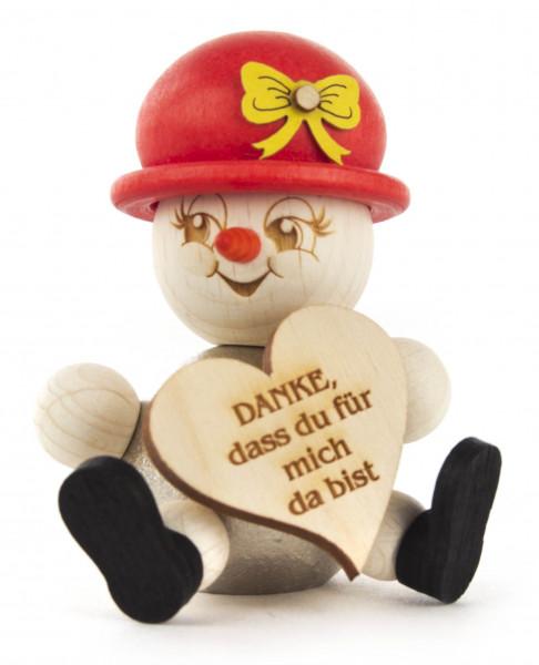 Dregeno Erzgebirge - Schneefrau »Die Treuherzige« mit Botschaft »Danke dass du für mich da bist« (Metallkörper und magnetische Teile)
