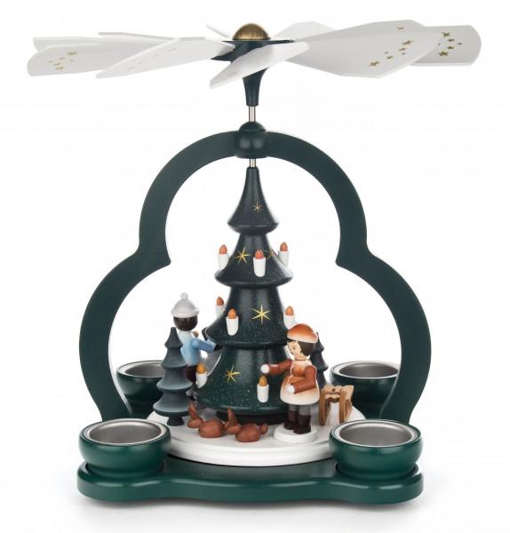 Dregeno Erzgebirge - Pyramide mit Winterkindern und Baum, für Teelichte