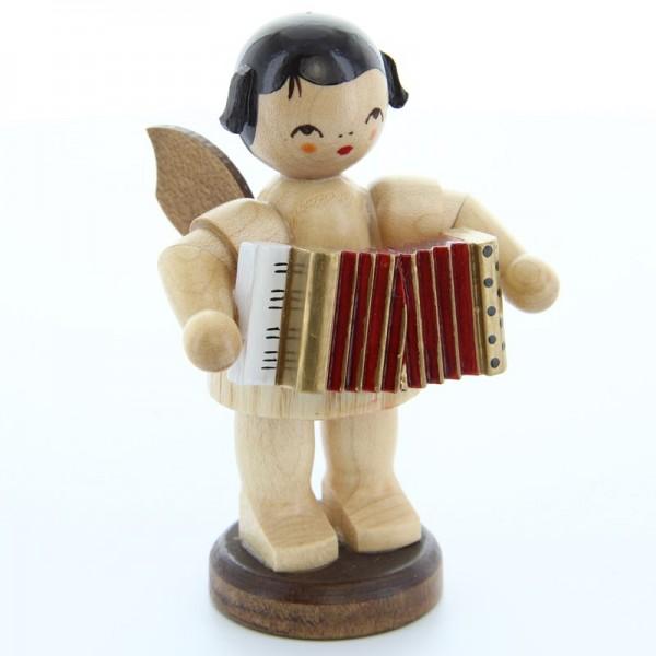 Uhlig Engel groß stehend mit Akkordeon, natur, handbemalt