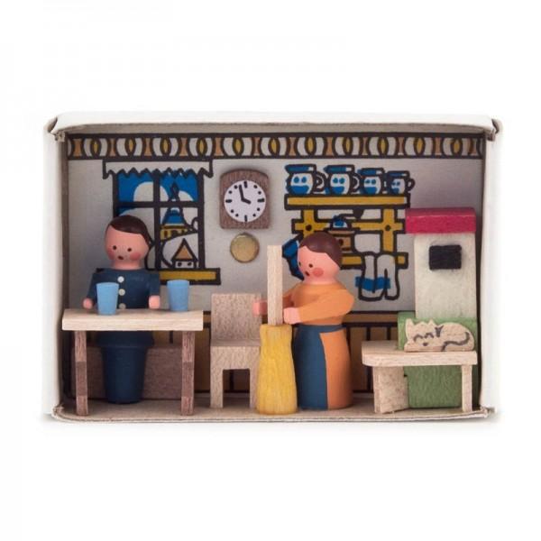 Dregeno Erzgebirge - Miniatur-Zündholzschachtel Bauernstube
