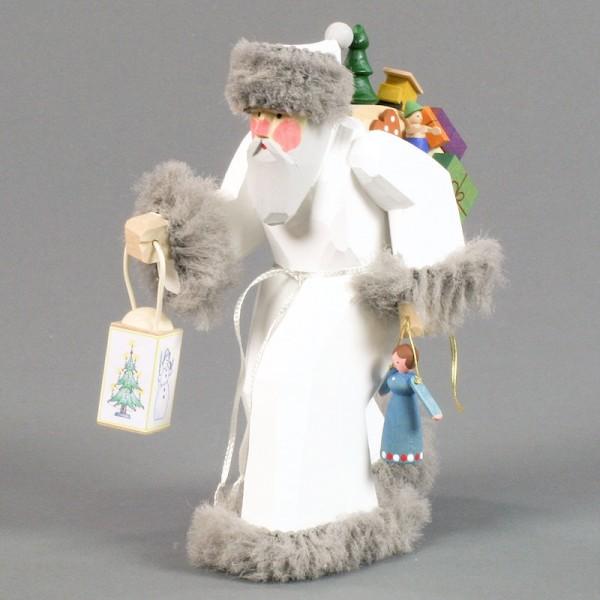 Dregeno Erzgebirge - Schnitzerei - Weihnachtsmann mit Geschenken und Laterne / weiß - 19cm