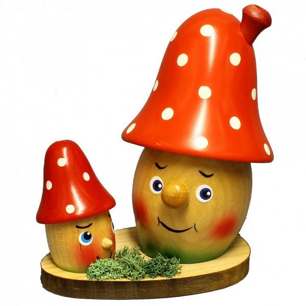 HELA Holzkunst - Rauchpilz-Familie rot