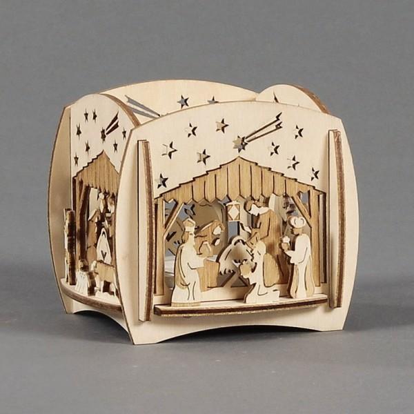 Dregeno Erzgebirge - Teelichthalter mit 3D-Motiv Christi Geburt