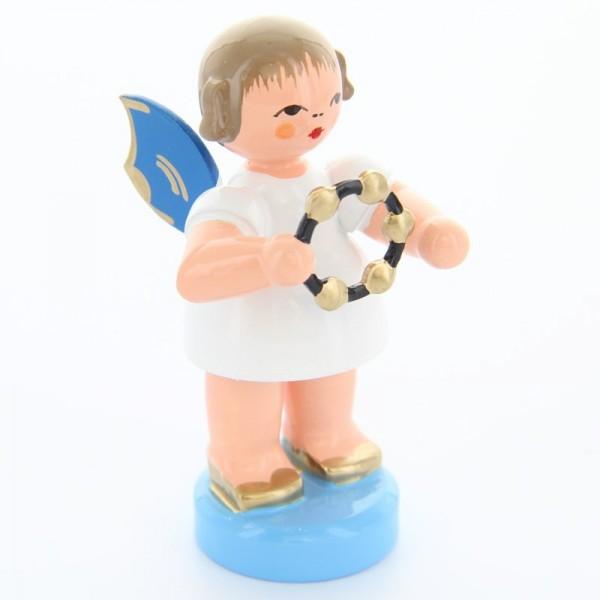 Uhlig Engel stehend mit Schellenring, blaue Flügel, handbemalt