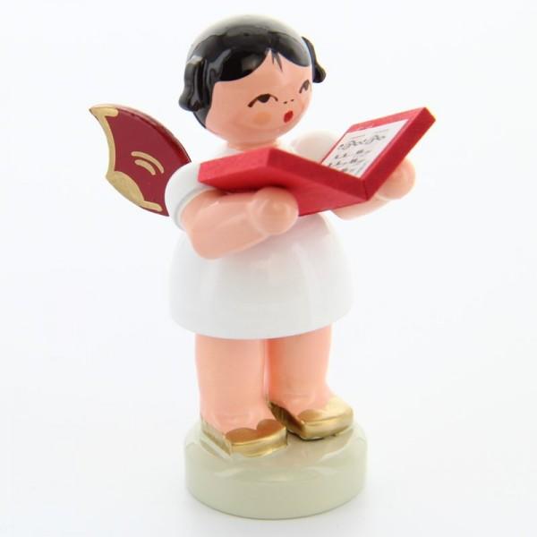 Uhlig Engel stehend mit Buch, rote Flügel, handbemalt