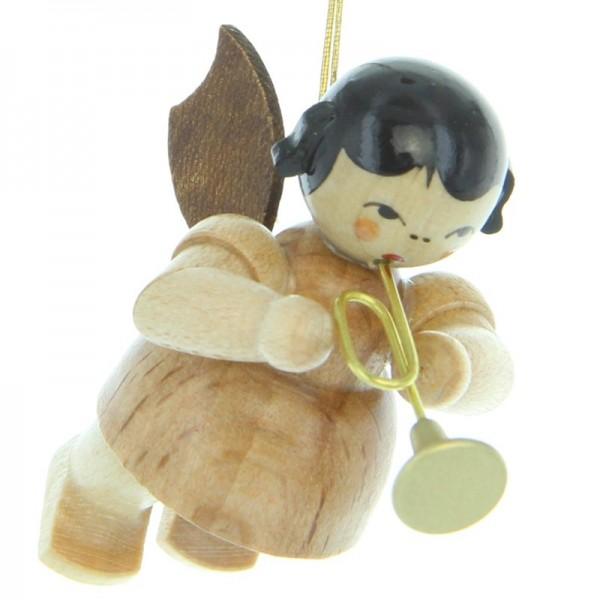 Uhlig Engel schwebend mit Trompete , natur, handbemalt