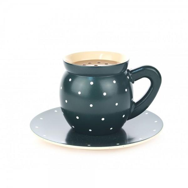 Dregeno Erzgebirge - Dampfende Kaffeetasse, grün - 10cm