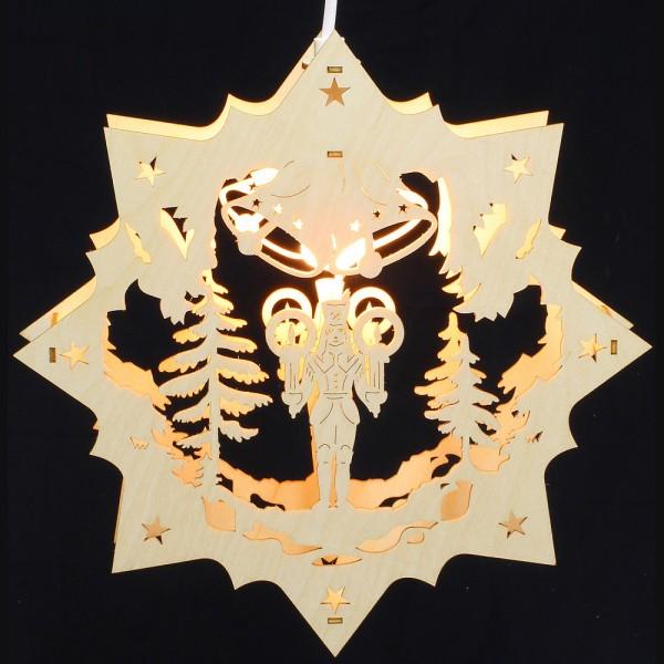 Fensterbild Erzgebirge beleuchtet - Motiv Bergmann - 27cm