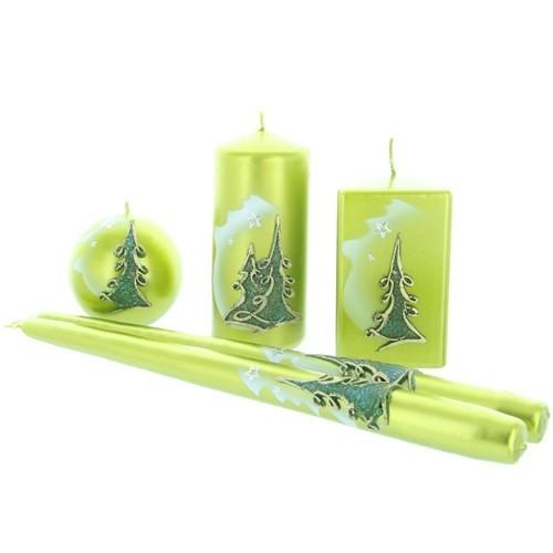 Weihnachtskerze Grün-metallic - Kerzenset mit Tanne - 5-teilig