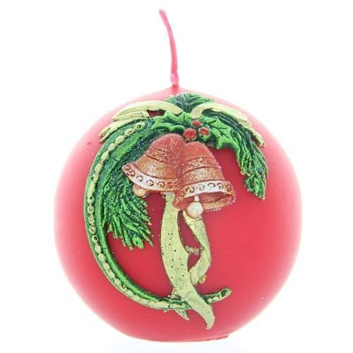 Weihnachtskerze Rot - Kugel mit Glocke - 7cm
