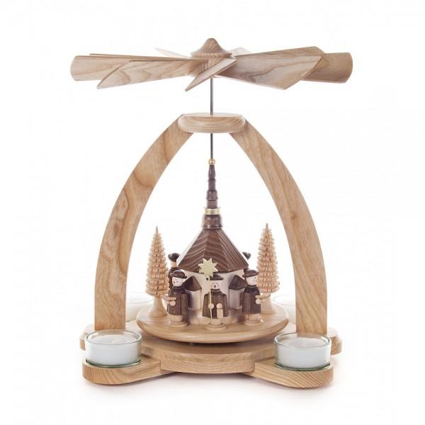 Dregeno Erzgebirge - Pyramide klein mit Seiffener Kirche und Kurrende, für Teelichter - 26cm