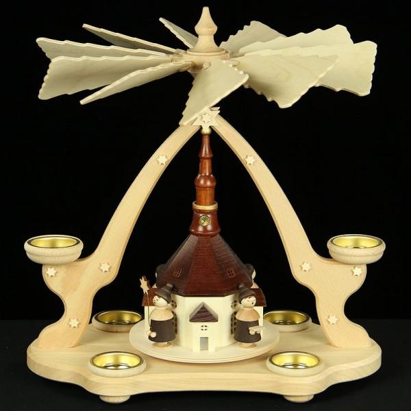 Holzkunst Niederle - Tischpyramide Seiffener Kirche mit Kurrende