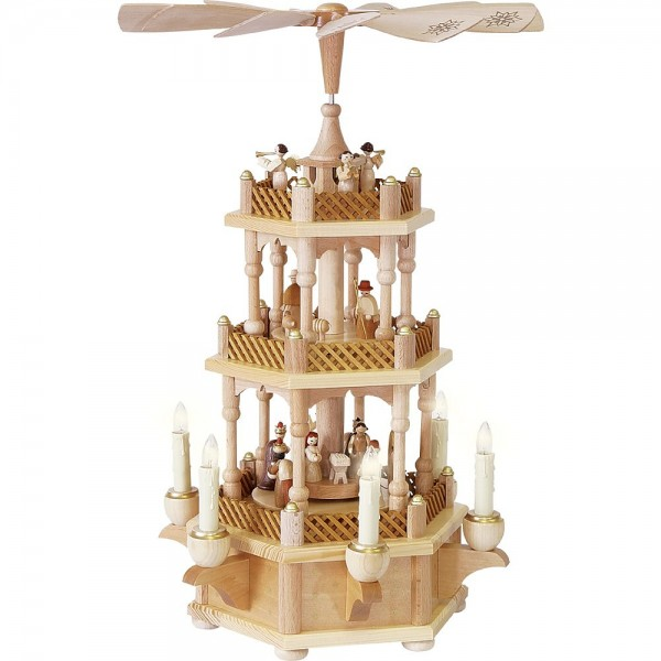 Richard Glässer Erzgebirgspyramide Christi Geburt 2-stöckig natur elektrisch 45cm