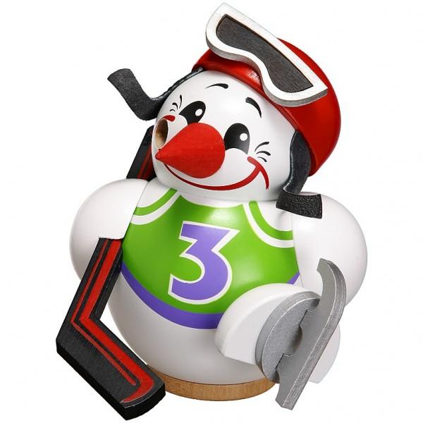 Seiffener Volkskunst Kugelräucherfigur Cool-Man Eishockeyspieler