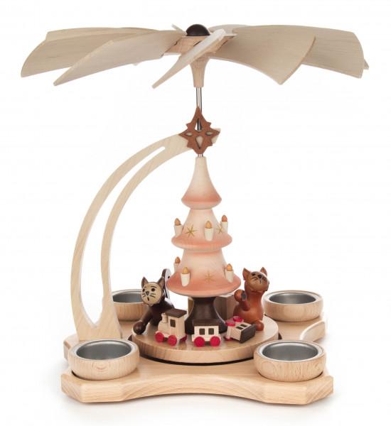 Dregeno Erzgebirge - Pyramide mit spielenden Katzen natur, für Teelichte