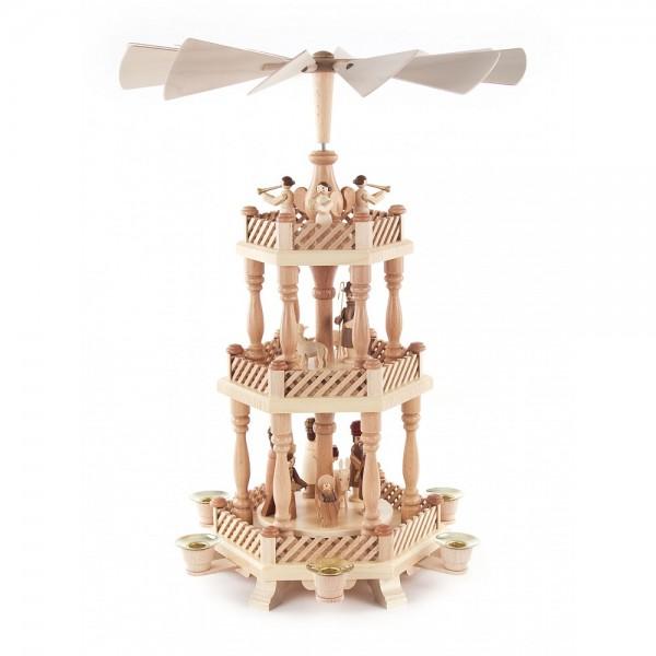 Dregeno Erzgebirge - Pyramide 3-stöckig mit Christi Geburt - 45cm