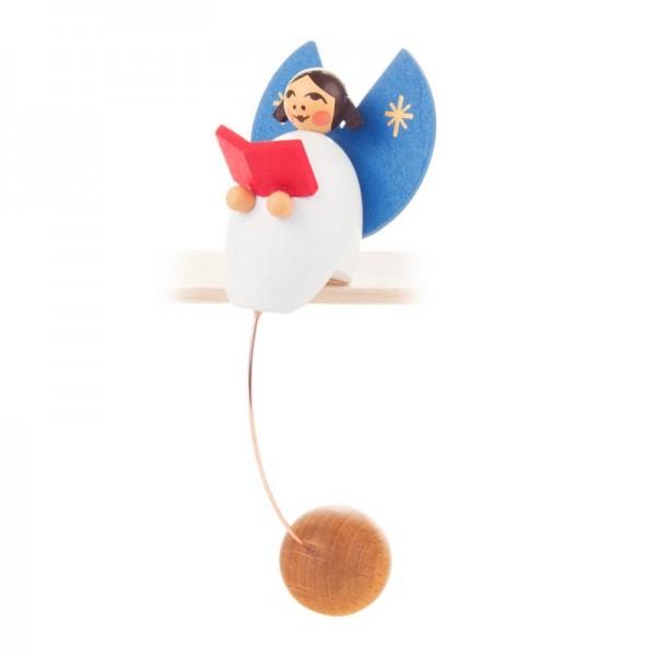 Dregeno Erzgebirge - Miniatur-Schaukelfigur Engel mit Buch