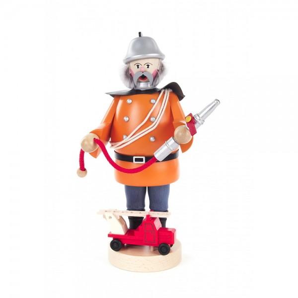 Dregeno Erzgebirge - Räuchermann Feuerwehrmann, rot - 21cm