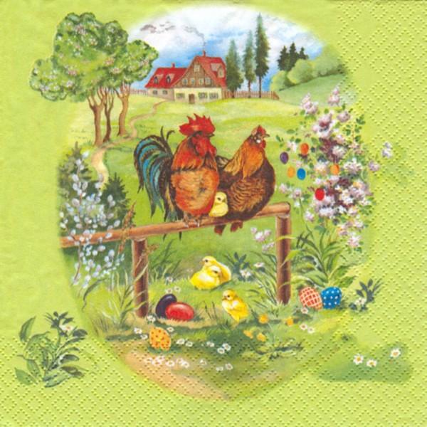 Dregeno Erzgebirge - Servietten, Motiv: Hühnerfamilie, 20 Stück