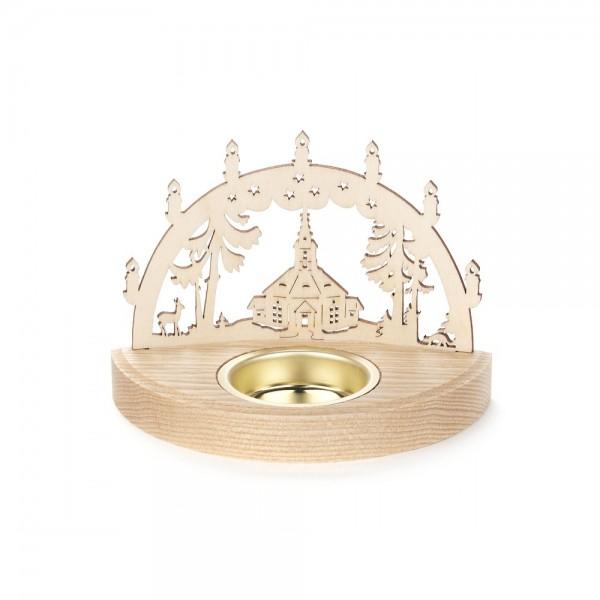 Dregeno Erzgebirge - Teelichthalter Schwibbogen Motiv Seiffener Kirche - 8cm