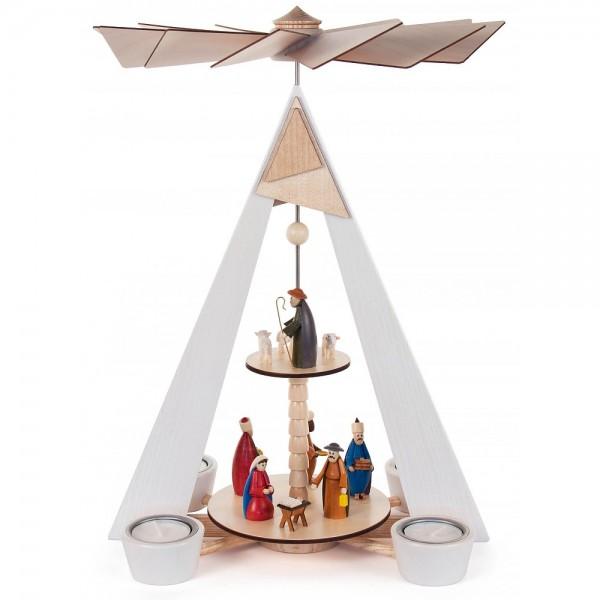 Dregeno Erzgebirge - Pyramide mit Christi Geburt weiß mit farbigen Figuren 2-stöckig für Teelichte