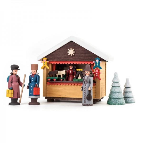 Dregeno Erzgebirge - Miniatur-Weihnachtsmarktbude mit 3 Figuren und 2 Bäumchen