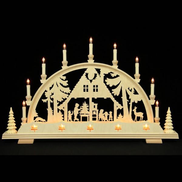 Holzkunst Niederle - Lichterbogen Erzgebirge - Motiv Waldhaus mit Sternblende und Bäume