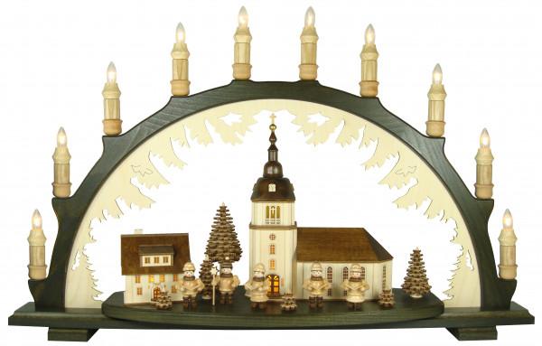Lenk & Sohn - Schwibbogen Dorfkirche, Kurrende Rahmen dunkel