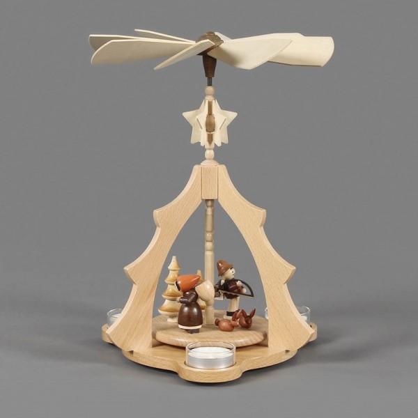 Dregeno Erzgebirge - Pyramide mit Waldfiguren, für Teelichter